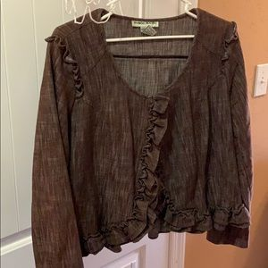 Bamboo Traders Brown Waist Length Button Jacket L